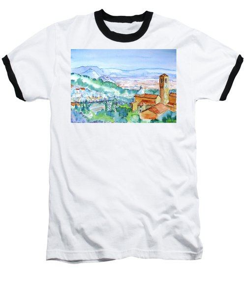 Baseball T-Shirt featuring the painting Tuscany Valley  Medieval Village Of Massa by Trudi Doyle