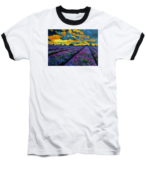 Lavender Fields At Dusk Baseball T-Shirt by Julie Brugh Riffey