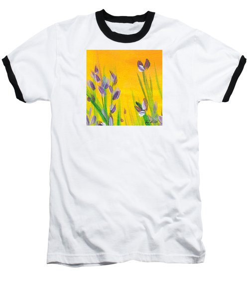 Baseball T-Shirt featuring the painting Lavender - Hanging Position 1 by Val Miller