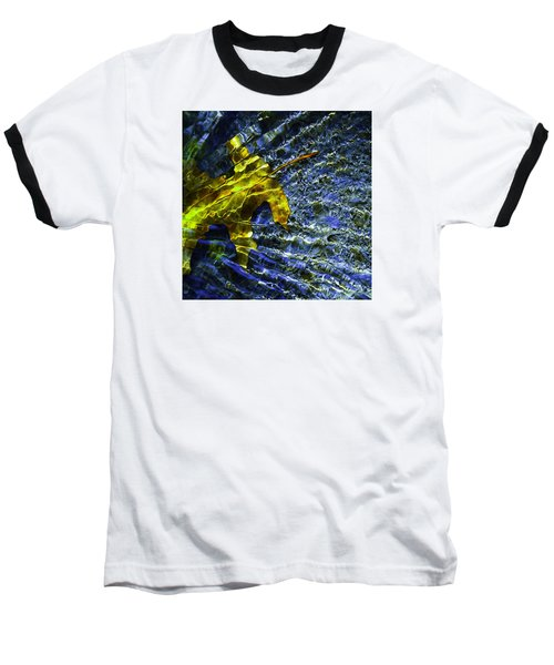 Leaf In Creek - Blue Abstract Baseball T-Shirt by Darryl Dalton