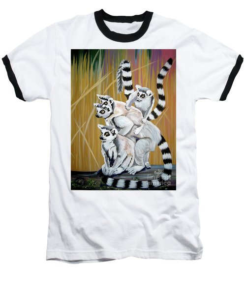 Baseball T-Shirt featuring the painting Leapin Lemurs by Phyllis Kaltenbach