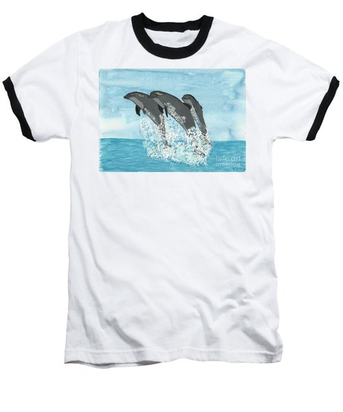 Leaping Dolphins Baseball T-Shirt by Tracey Williams