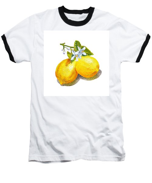Baseball T-Shirt featuring the painting Lemons And Blossoms by Irina Sztukowski