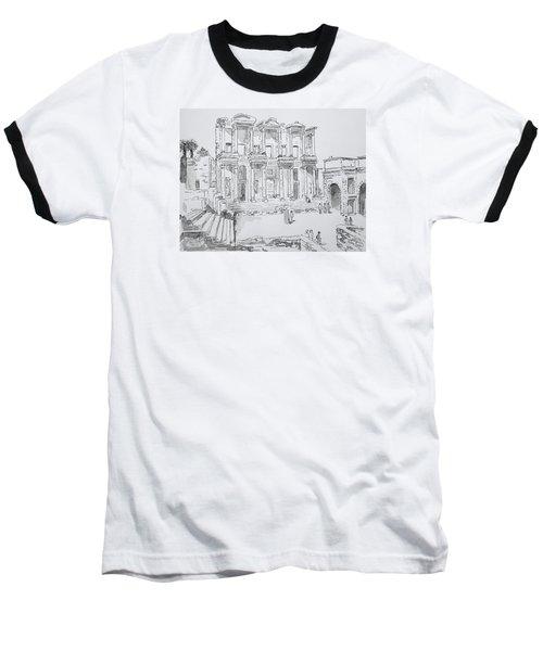 Library At Ephesus Baseball T-Shirt by Marilyn Zalatan