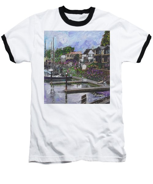 Baseball T-Shirt featuring the painting Alameda Life On The Estuary by Linda Weinstock