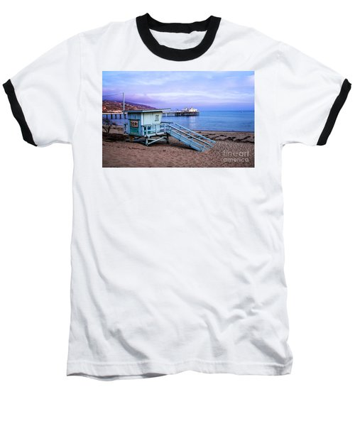 Lifeguard Tower And Malibu Beach Pier Seascape Fine Art Photograph Print Baseball T-Shirt