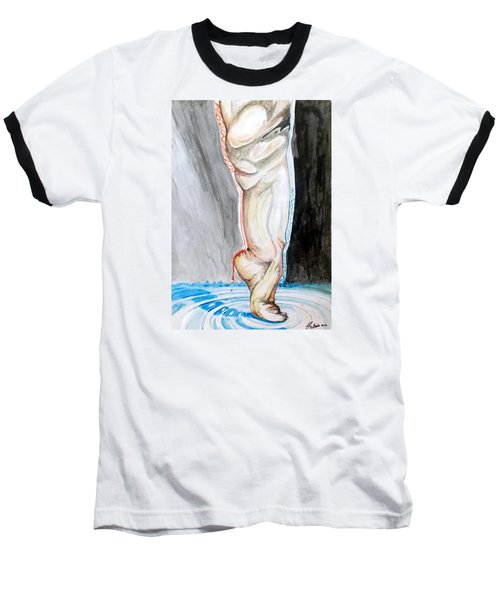 Baseball T-Shirt featuring the painting Lightweight Of The Being Listen With Music Of The Description Box by Lazaro Hurtado