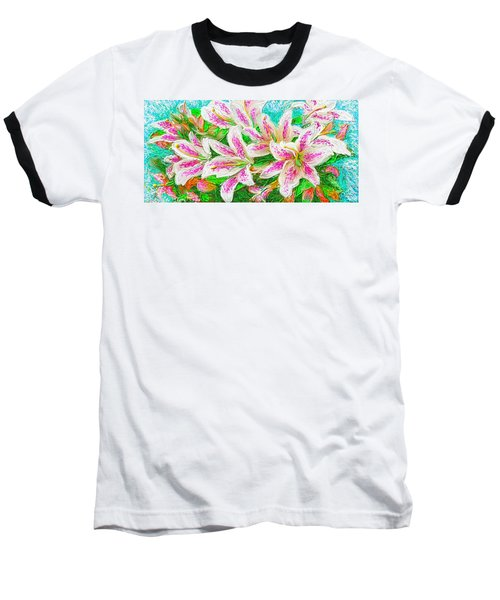 Baseball T-Shirt featuring the painting Lilies  by Hidden  Mountain