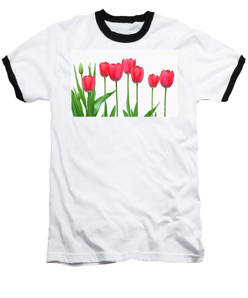 Baseball T-Shirt featuring the photograph Line Of Tulips by Steve Augustin