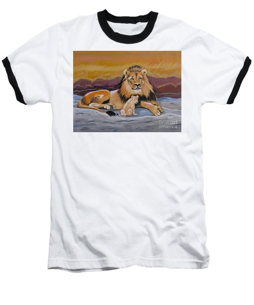 Baseball T-Shirt featuring the painting Lion And Cub by Phyllis Kaltenbach