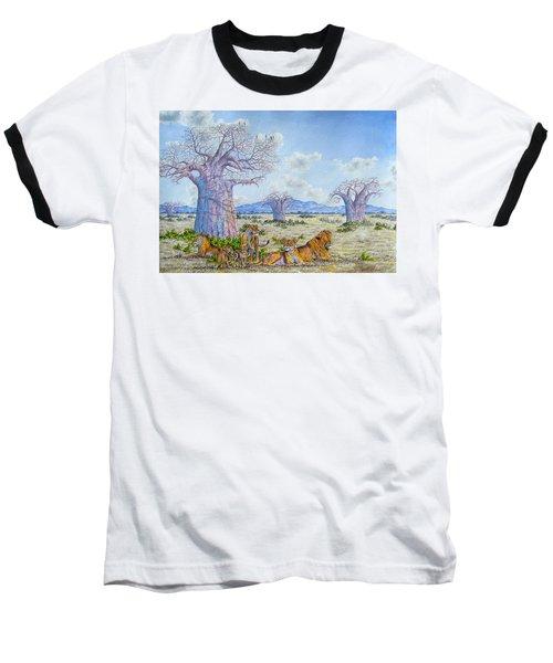 Lions By The Baobab Baseball T-Shirt