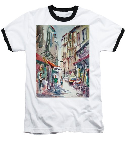 Baseball T-Shirt featuring the painting Little Trip At Exotic Streets In Istanbul by Faruk Koksal