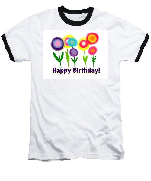 Baseball T-Shirt featuring the digital art Lollipop Flowers  by Christine Fournier
