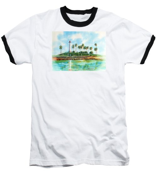 Long Beach Lighthouse  Version 2 Baseball T-Shirt by Debbie Lewis