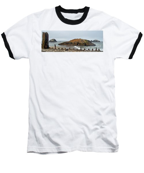 Looking Out On The Pacific Ocean From The Sutro Bath Ruins In San Francisco  Baseball T-Shirt by Jim Fitzpatrick