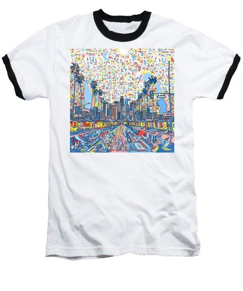 Los Angeles Skyline Abstract 3 Baseball T-Shirt