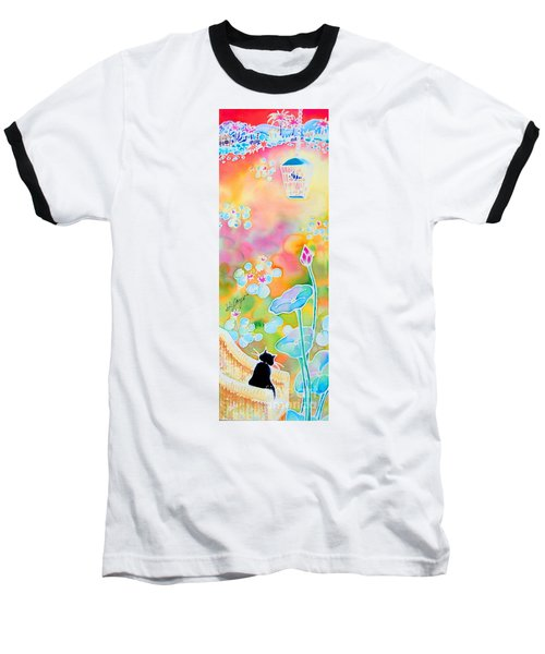 Baseball T-Shirt featuring the painting Lotus Pond by Hisayo Ohta