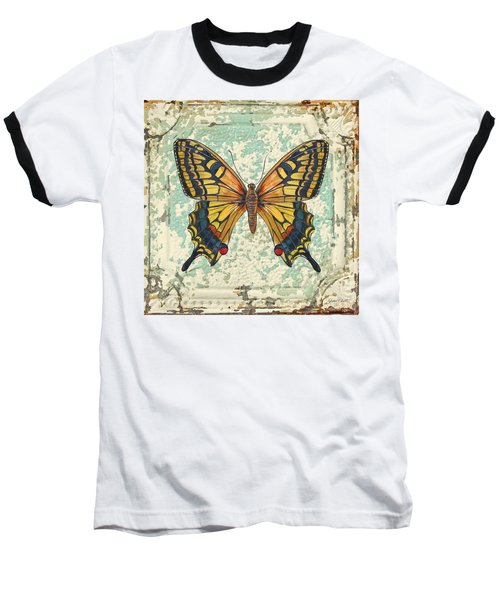 Lovely Yellow Butterfly On Tin Tile Baseball T-Shirt by Jean Plout