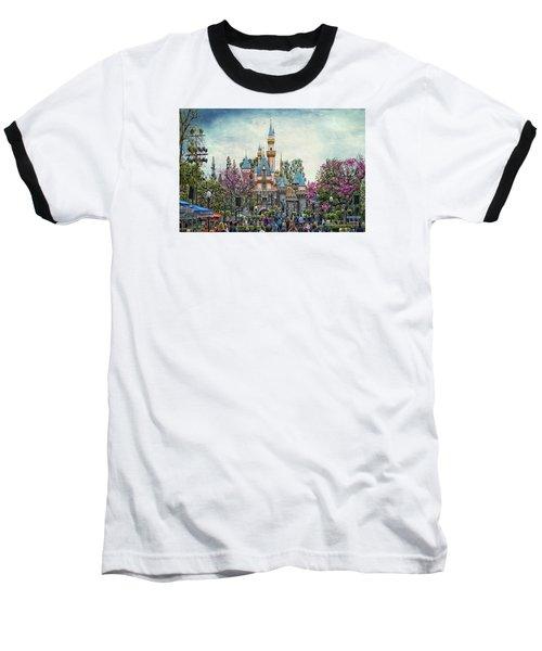 Main Street Sleeping Beauty Castle Disneyland Textured Sky Baseball T-Shirt