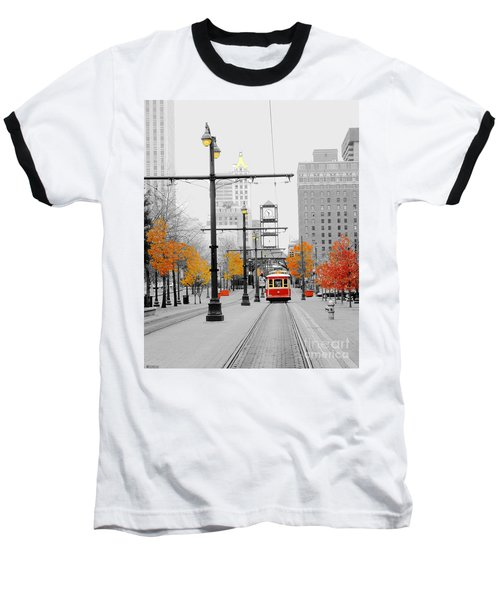 Main Street Trolley  Baseball T-Shirt