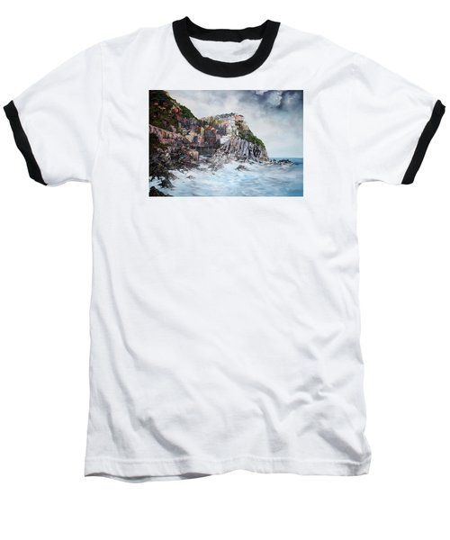 Baseball T-Shirt featuring the painting Manarola Italy by Jean Walker