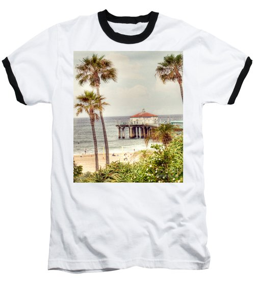 Manhattan Beach Pier Baseball T-Shirt by Juli Scalzi
