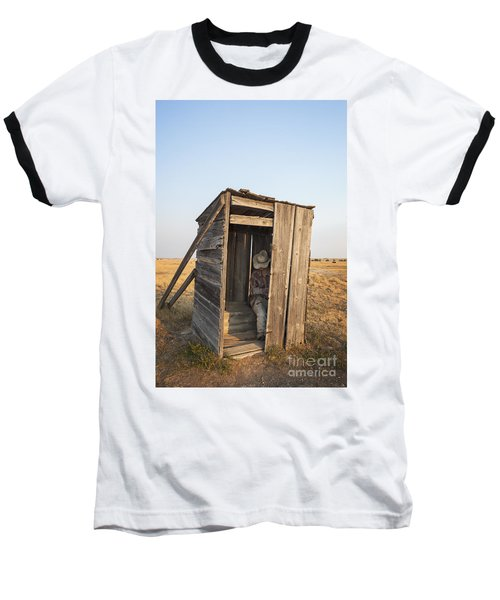 Mannequin Sitting In Old Wooden Outhouse Baseball T-Shirt