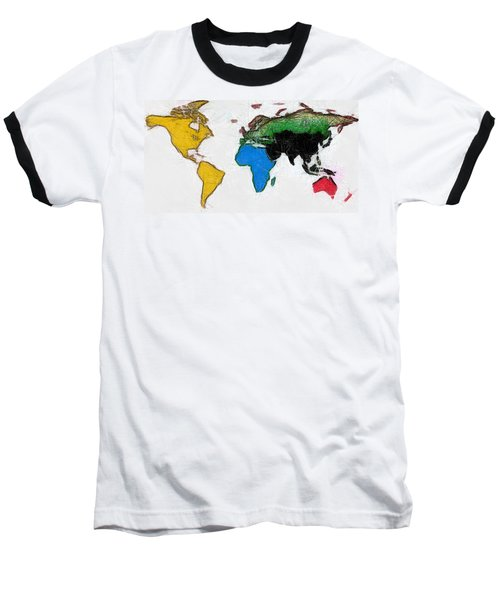 Baseball T-Shirt featuring the painting Map Digital Art World by Georgi Dimitrov