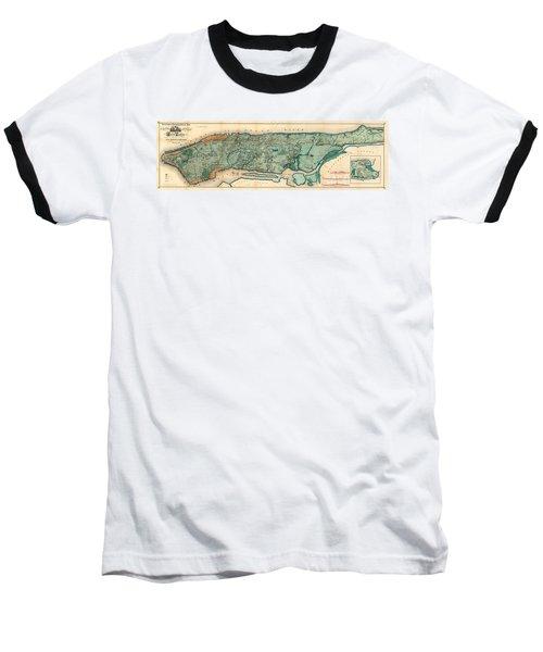 Map Of Manhattan Baseball T-Shirt
