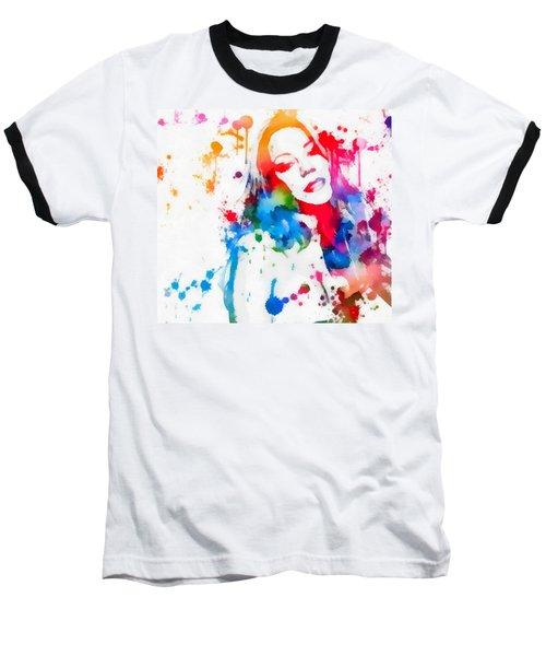 Mariah Carey Watercolor Paint Splatter Baseball T-Shirt