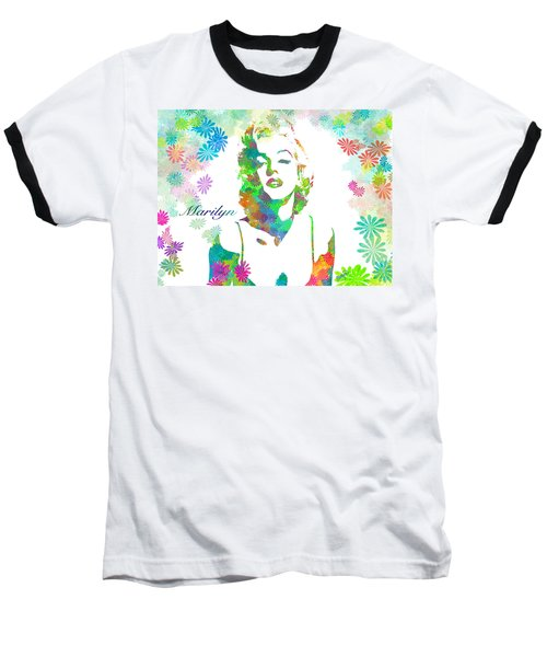 Marilyn Monroe Flowering Beauty Baseball T-Shirt