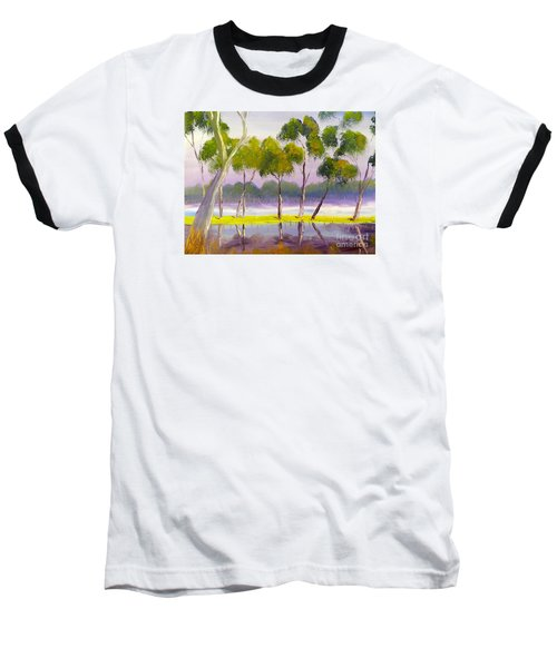 Baseball T-Shirt featuring the painting Marshlands Murray River Red River Gums by Pamela  Meredith