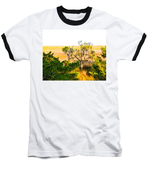 Marsh Cedar Tree And Moss Baseball T-Shirt