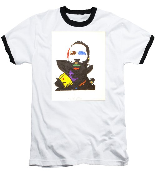 Baseball T-Shirt featuring the painting Marvin Gaye by Stormm Bradshaw