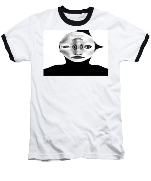 Baseball T-Shirt featuring the painting Mask Black And White by Rafael Salazar