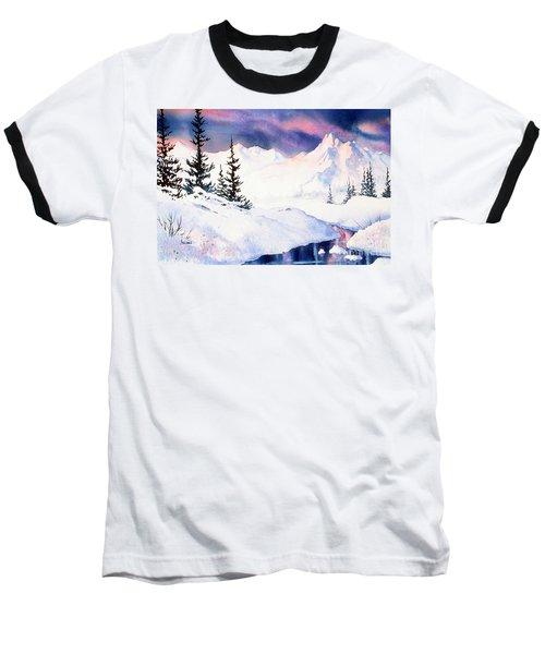 Baseball T-Shirt featuring the painting Matanuska Sunset Impression by Teresa Ascone