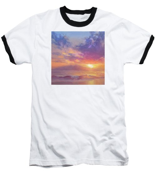 Maui To Molokai Hawaiian Sunset Beach And Ocean Impressionistic Landscape Baseball T-Shirt by Karen Whitworth
