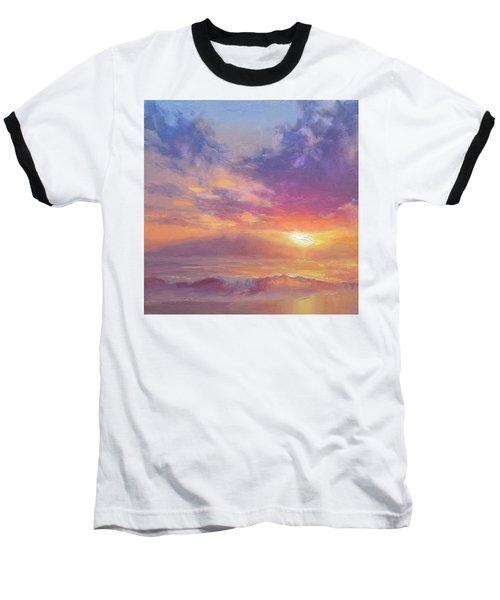 Coastal Hawaiian Beach Sunset Landscape And Ocean Seascape Baseball T-Shirt