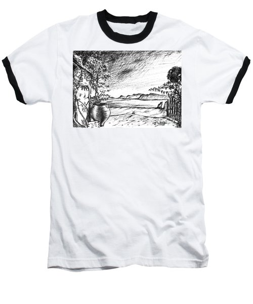Baseball T-Shirt featuring the drawing Mediterranean Cat by Teresa White