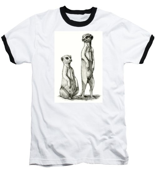 Meerkatte Baseball T-Shirt by Heidi Kriel