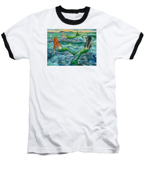 Mermaids On The Rocks Baseball T-Shirt by Julie Brugh Riffey