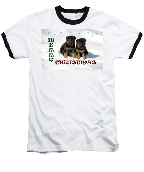 Merry Christmas Puppies Baseball T-Shirt