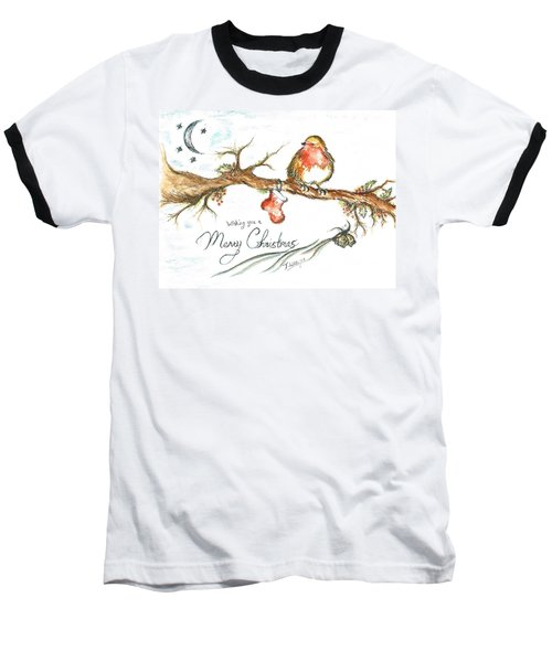 Merry Christmas Robin Baseball T-Shirt