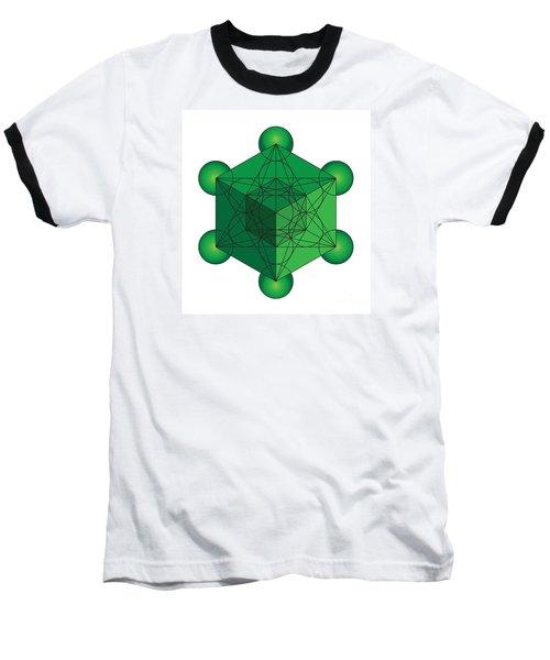 Metatron's Cube In Green Baseball T-Shirt