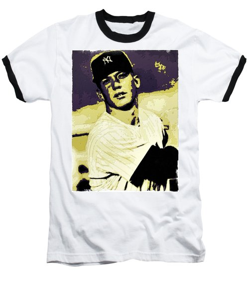 Mickey Mantle Poster Art Baseball T-Shirt