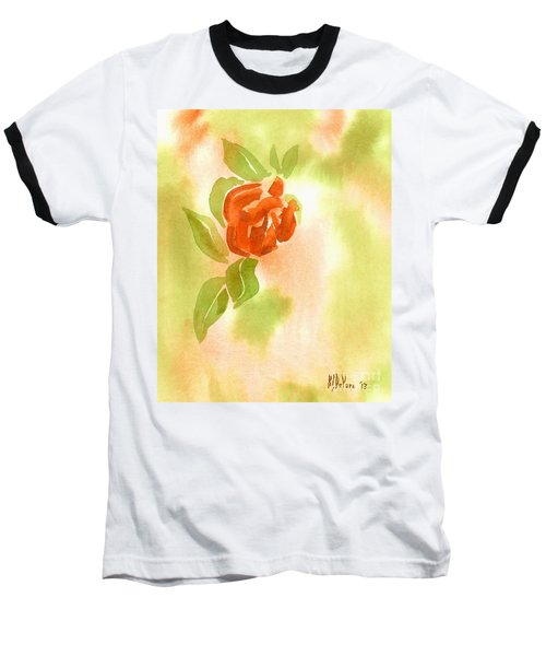 Baseball T-Shirt featuring the painting Miniature Red Rose II by Kip DeVore