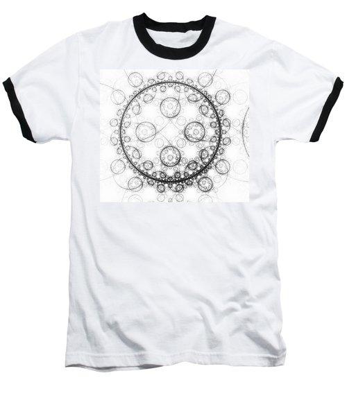 Minimalist Fractal Art Black And White Circles Baseball T-Shirt