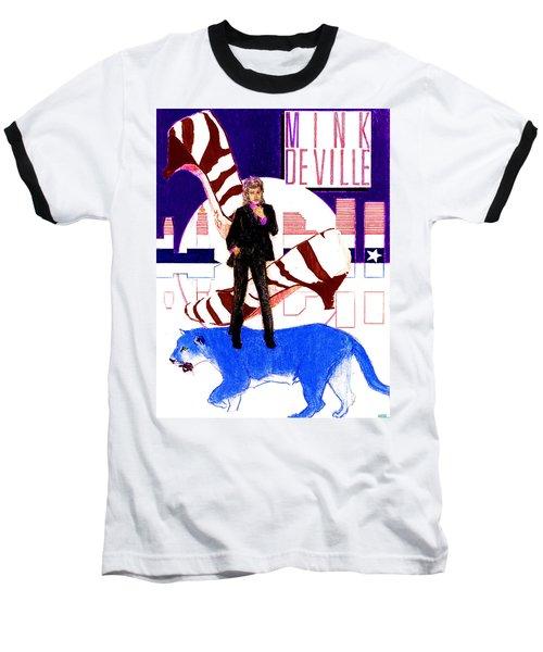 Mink Deville - Le Chat Bleu Baseball T-Shirt by Sean Connolly