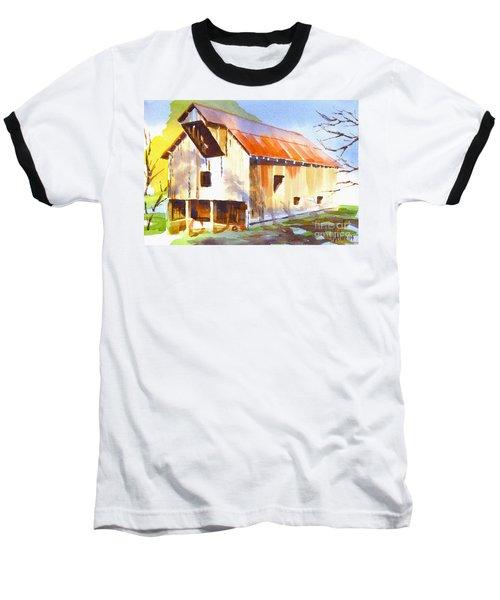 Missouri Barn In Watercolor Baseball T-Shirt