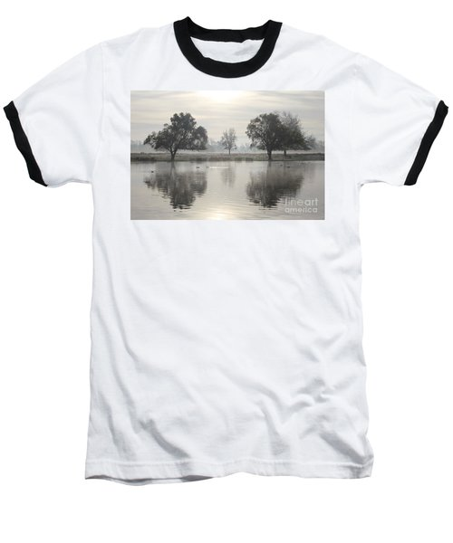 Misty Morning In Bushy Park London 2 Baseball T-Shirt